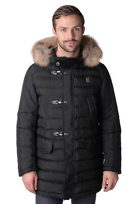PIERO GUIDI LINEABOLD Down Parka Jacket Size L Quilted Fur Trim Hooded RRP €720