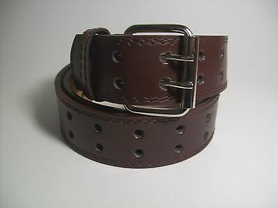 """Men Silver Color Buckle Brown Leather Belt Two Hole XL 42 - 44"""" #9041B"""