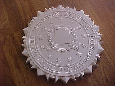 Unpainted-Large FBI Federal Bureau of Investigation Entry Way Sign Police Plaque