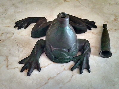 Antique Victorian Era Frog Cast Iron Quill Pen Holder -Paperweight - Marked CJR