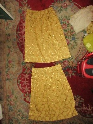 (1) Pair of Antique French damask gold drapes Floral Pattern