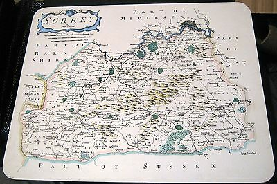 Lovely large chopping board Surrey map and recipes approx 14.5 x 11.5 ins