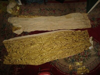 (1) Pair of Antique French damask gold drapes Floral Basket Pattern Lined