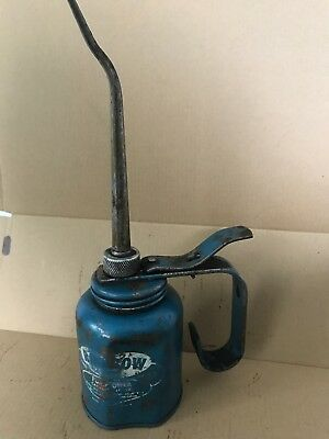 Vintage EAGLE RAINBOW PUMP OILER Oil CAN Blue 10 oz Made USA
