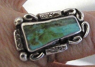 """Royston Turquoise Ring, Sterling Silver, 1"""" Long Natural Cut, Native Design, 5.5"""