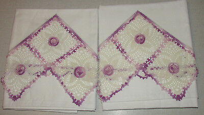 Vintage Pair Of Pillowcases White & Lavender Fancy Crocheted Trim Exquisite
