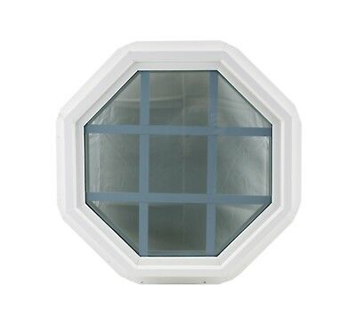 "SALE Octagon 18"" Double Pane Window Tempered Glass Low-E PVC Frame With Grids"