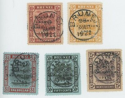 Brunei Stamps 1922 Malaya Borneo Expo Sg #55/59 To $1 With Forged Cancels Vf