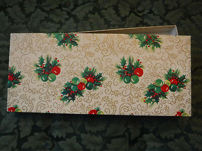 Vintage Christmas Holly & Ornament Gift Paper Box