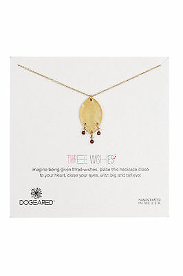 New Dogeared 14K Gold Plated Sterling Silver Three Wishes Lotus Petal Necklace