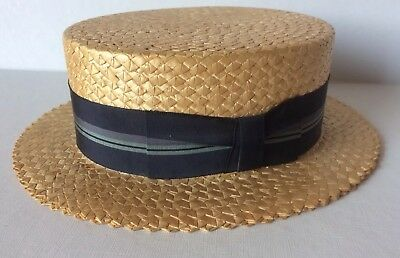 191a5e5593a09 Cavanagh Straw Boater Skimmer Hat Size 7 1 8 US 58 Italy Barbershop Quartet