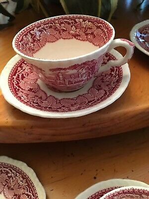 Mason's Vista Ironstone Pink Cup And Saucer Made In England