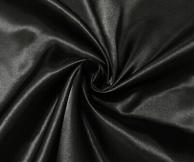 Black Luxury Silky Satin Dress Craft Fabric Wedding Material 150cm Wide