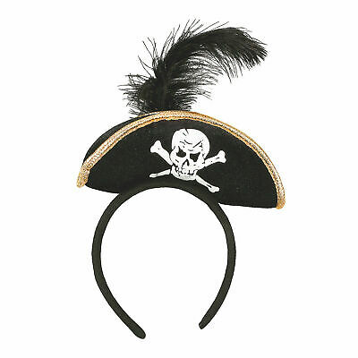 Mini Pirate Hat Headband w/feather Buccaneer Costume Womens Girls Ladies  Black