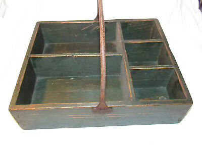 Primitive Vintage Green Wood Section Garden Caddy Toolbox Tote Box Metal Handle