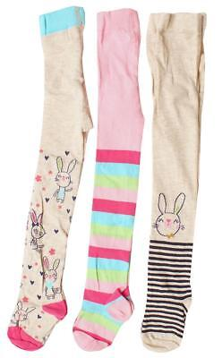 Girls PACK OF 3 Pairs Bunny Rabbit & Stripe Cotton Rich Tights 1 to 8 Years