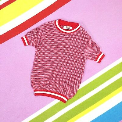 Kids 1970s Vtg Sweater Red White Short Sleeve NEW size 28 age 7 8 years Speckled