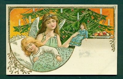 EMBOSSED CHRISTMAS ANGEL WITH CHILD & DOLL, vintage postcard