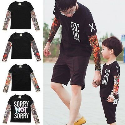 Family Matching Clothes Daddy & Son Tattoo Print Tops T-shirt Blouse for Men Boy