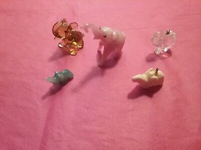 Lot Of 5 Glass Elephants  miniatures