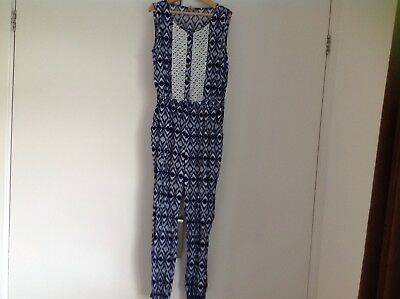 Girls Tu All In One Blue And Cream Jumpsuit Age 8 Years Excellent Condition