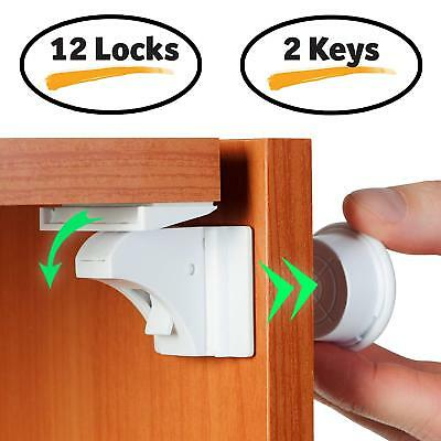 Baby Proofing Magnetic Cabinet & Drawers Locks Child Safety 12 Latches 2 Keys Ba