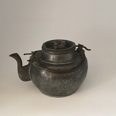 Attractive Antique 19 C Chinese Paktong Pewter Teapot with Foo Dog Finial