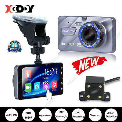 "XGODY 4"" Touch Screen Car DVR Rearview Camera Dash Cam Dual Lens Night Vision SD"