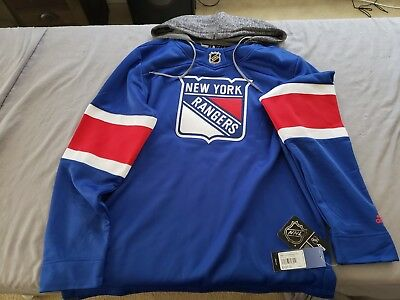9afe9f387 Adidas NHL New York Rangers Jersey Pullover Hoodie Blue Red Mens Size L