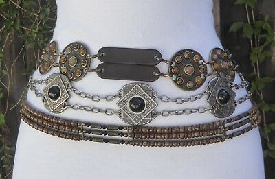 Three Different Vtg. Silver- Brass Tone Metal Embossed Cabochon Bead Chain Belts