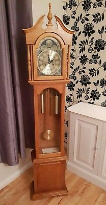 Beautiful Working Grandfather Clock Long Case Chimes Perfectly Winds Up *DELIVER