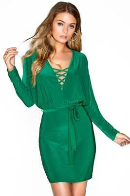 BNWT Outrageous Fortune Green Mini Waist Tie Dress UK 8 Bodycon Batwing Sleeve