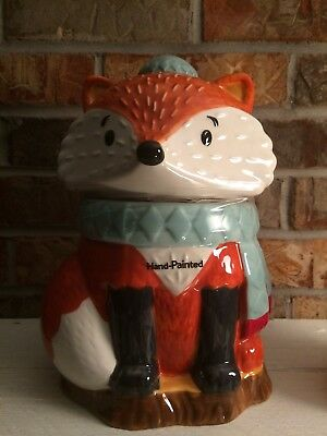 Brand New: Fox Cookie Jar - Heritage Collection Earthenware Ceramic - Fall Decor
