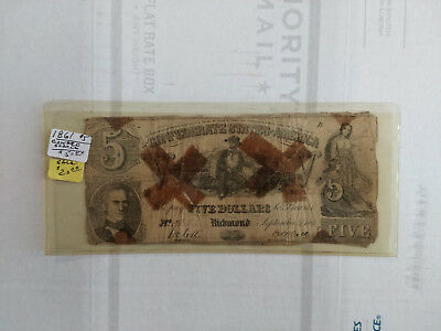 1861 Confederate States of America $5 Note Sailor Scarce Cancelled