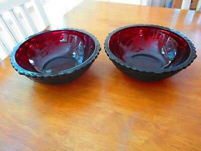 2 Large CAPE COD Ruby by Avon Vegetable SERVING BOWLS