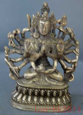 Miao Silver Hand-Carve Thousand-Hand Buddha Rare Collection Figurines Old Statue