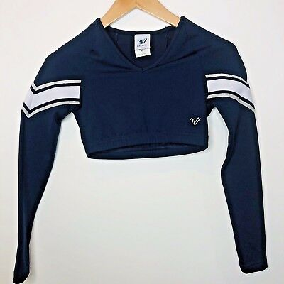 Varsity Cheer Size Small Long Sleeve Crop Top Navy Blue White Glitter Silver