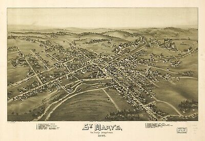 A4 Reprint of American Cities Towns States Map St Marys Pennsylvania