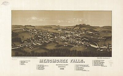A4 Reprint of American Cities Towns States Map Menomonee Falls Wisconsin