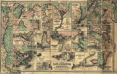 A4 Reprint of Map 1862 US Harbors Fortifications On Sea Board & Interior