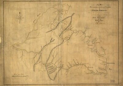 A4 Reprint of Lakes And Rivers Map Potomack James Ohio