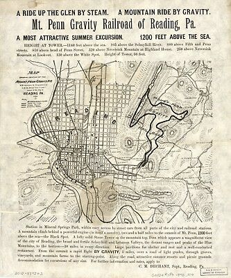 A4 Reprint of American Cities Towns States Map Reading Pennsylvania