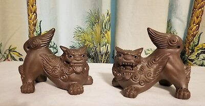 Asian Guardian/Imperial Lion Dog Foo Heavy Figures Clay or Terracotta? Pair Nice