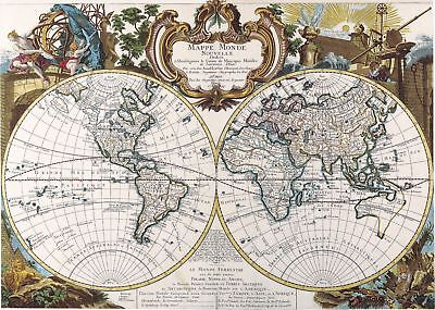 A4 Reprint of Old Maps Old Map Of The World Reprint 6