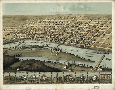 A4 Reprint of American Cities Towns States Map Saginaw City Michigan