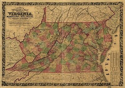 A4 Reprint of America Cities Towns States Map Virginia Maryland Delaware