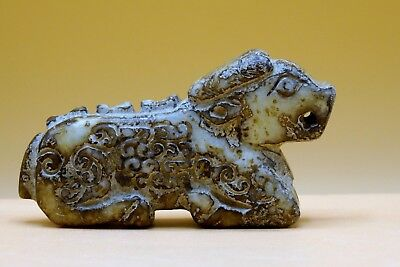 VERY OLD - Antique, Stone ARCHAIC Chinese Asian MYTHICAL CREATURE Animal PENDANT