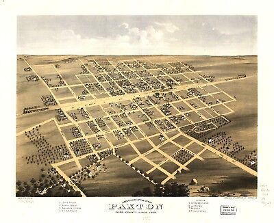 A4 Reprint of American Cities Towns States Map Paxton Ford Illinois