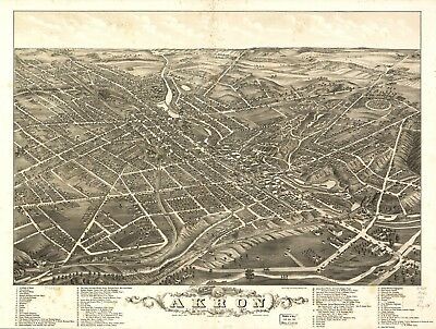 A4 Reprint of American Cities Towns States Map Akron Ohio