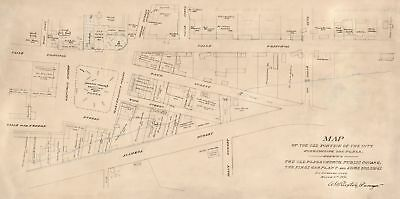 A4 Reprint of Map 1873 Old Los Angeles - Plaza Church Square Gas Plant
